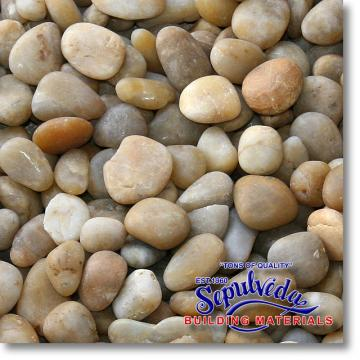 "Click for a Large Photo of Yellow Polished Pebble 1"" to 2"" size 55lb Bag"
