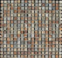 "Small photo of Fireplace Tumbled Slate 1/2""x1/2"" on 12""x12"" Mesh"