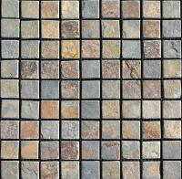 "Small photo of Smoke Stack Tumbled Slate 1""x1"" on 12""x12"" mesh"