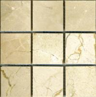 "Small photo of Crema Marfil 2""x2"" on 12""x12"" mesh"