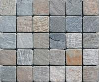 "Small photo of Himalayan Kashmire Gauged Slate 2""x2"" on 12""x12"" Mesh Sheet"