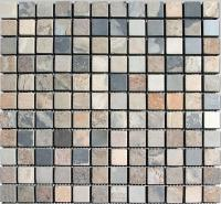 "Small photo of Painted Desert Gauged Slate 1""x1"" on 12""x12"" Mesh Sheet"