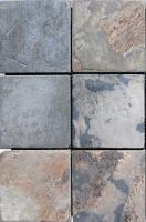 "Small photo of Painted Desert Gauged Slate 4""x4"" on 12""x12"" Mesh Sheet"
