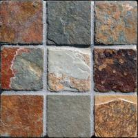 "Small photo of Ming Valley Tumbled Slate 2""x2"" on 12""x12"" Mesh"