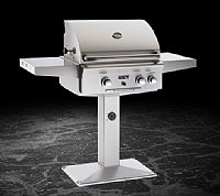 "Small photo of American Outdoor Grill 24"" Freestanding Gas Grill Patio Post w/o Backburner and Warming Rack"