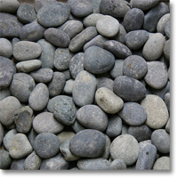 "Small photo of Black Mexican Beach Pebbles 1""-2"""