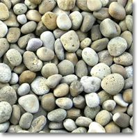 "Small photo of Buff Mexican Beach Pebbles 1""-2"""