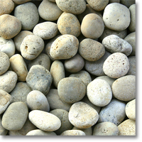 "Small photo of Buff Mexican Beach Pebbles 2""-3"""