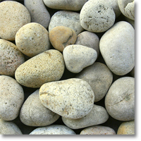 "Small photo of Buff Mexican Beach Pebbles 3""-5"""