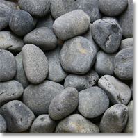 "Small photo of Black Mexican Beach Pebbles 3""-5"""
