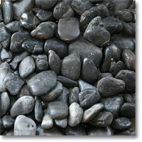 "Small photo of Black Polished Pebble 2"" to 3"" size"